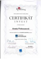 Certifikát Investiční akademie o absolvování odborné zkoušky - Bc. Aneta Kubrtová - Refinancování hypotéky - Matějova hypotéka