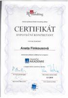 Certifikát hypoteční konzultantka - Bc. Aneta Kubrtová - Refinancování hypotéky - Matějova hypotéka