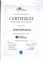 Certifikát hypoteční specialista - Bc. Aneta Kubrtová - Refinancování hypotéky - Matějova hypotéka