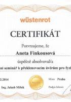 Certifikát překlenovací úvěry - Bc. Aneta Kubrtová - Refinancování hypotéky - Matějova hypotéka