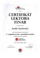 Certifikát odborného investičního lektora - Vysoká škola - Bc. Radek Opočenský - Matějova hypotéka