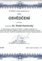 Osvědčení investiční specialista - Bc. Radek Opočenský - Matějova hypotéka